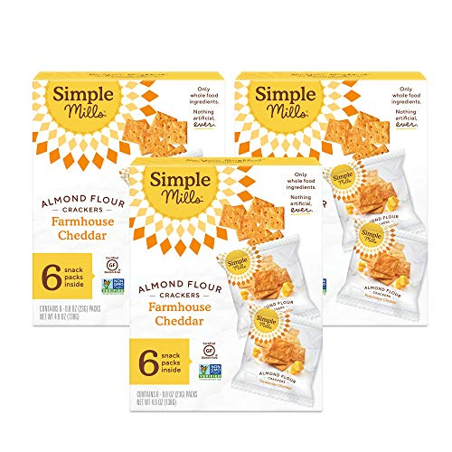 Simple Mills Almond Flour Crackers, Farmhouse Cheddar Snack Packs, Gluten Free, Flax Seed, Sunflower Seeds, Corn Free, Good for Snacks, 3 Count (6 Bags per Box), (Packaging May Vary)