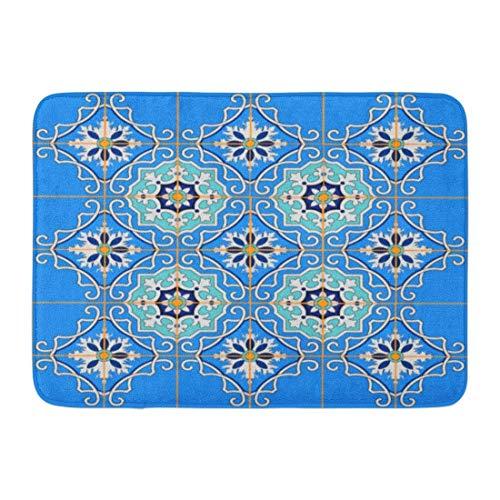 Goodshope deurmatten badtapijten buiten/binnendeur mat keramiek prachtig patchwork patroon van blauw Marokkaanse tegels ornamenten vult Spaanse badkamer Decor antislip tapijt 16