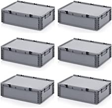 6 recipientes europeos de 60 x 40 x 18,5 cm con tapa con bisagra, incluye metro plegable