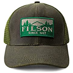 Filson® keeps your daily style fresh with the Logger Mesh Cap. 6-panel construction in a trucker design. High-profile silhouette with a structured front brim. Filson logo patch at front panels and breathable mesh back panels. Tin Cloth front panel is...