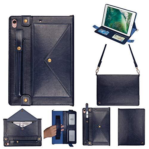 iPad Air 3 ケース、TABCase PUレザーショルダーバッグ磁気ブラケット、カードスロット付き多機能フラットケース/ペンシルケース/財布ファイル分割ポケット付き手、iPad Air第3世代/Pro10.5インチに適しています(ダークブルー)