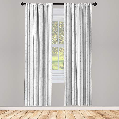 """Ambesonne Grey and White 2 Panel Curtain Set, Birch Tree Grove Leafless Branches Winter Woodland Illustration, Lightweight Window Treatment Living Room Bedroom Decor, 56"""" x 84"""", Silver Grey"""