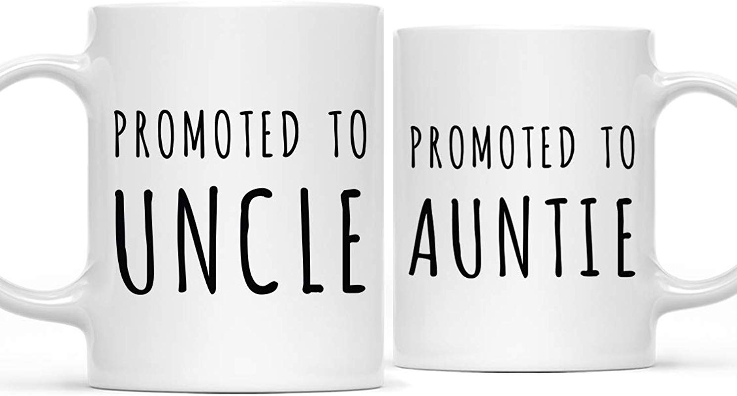 Andaz Press Baby Pregnancy Announcement 11oz Coffee Mug Gift Promoted To Auntie Promoted To Uncle 2 Pack Newborn New Mommy Daddy To Be Novelty Gift Idea For New Parents Pregnancy Suprise