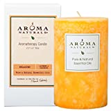 Aroma Naturals Essential Oil Lavender & Tangerine Scented Pillar Candle, Relaxing, 2.5 inch x 4 inch