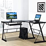 L Shaped Computer Desk Office Corner Desk,Modern Gaming Desk Home Office Desk Tempered Glass Workstation Desk with Keyboard Tray and CPU Stand 3-Piece PC Laptop Study Writing Workstation Table- Black