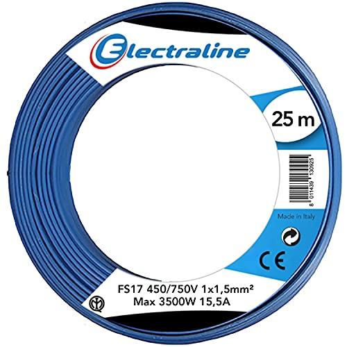 Electraline 13092 Cavo Unipolare FS17, Sezione 1 x 1.5 mm², Blu, 25 m