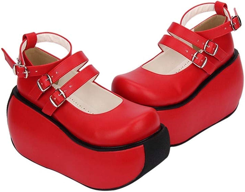 PINGXIANNV Classic Lolita Schuhe Rollenspielschuhe Rollenspielschuhe Dicker Doppelgürtel Plateauschuhe Einzigartige Rollboden- Plateauschuhe,36  Kostenlose Lieferung und Rückgabe
