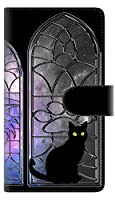 アクオス センス4 プラス SH-M16 スマホケース 手帳型 カバー 【ステッチタイプ】 YJ331 窓辺猫 黒ネコ 横開き 品