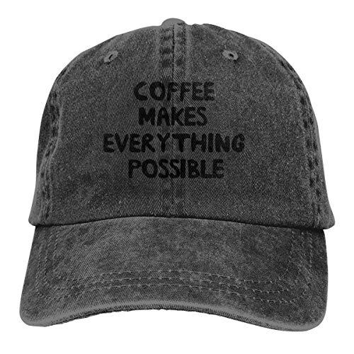 KKAIYA Coffee Makes Everything Possible Classic Vintage Washed Denim Cap Baseball Hat