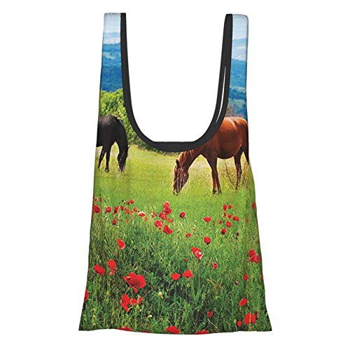 Xinkaize Animal Decor Various Kinds of Horses Eating Grass In The Field with Mountain Landscape Rural Scene...