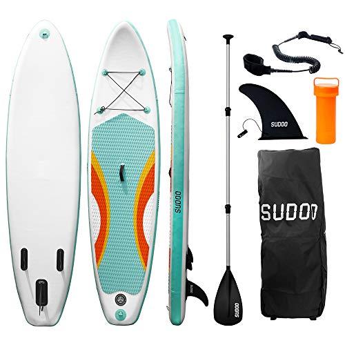 Triclicks SUP Aufblasbares Stand Up Paddle Board Paddling Board Surfboard mit Verstellbares Paddel, Handpumpe mit Druckmesser, Leash, Finner, Rucksack, 300 x 76 x 15cm (Stil 9)