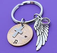 Memorial Jewelry, Pennies From Heaven Keychain, keepsake, Penny keychain, Hand stamped, Cross