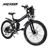 ANCHEER Bicicleta Eléctrica EB002 26 Pulgadas Plegable,Color Negro