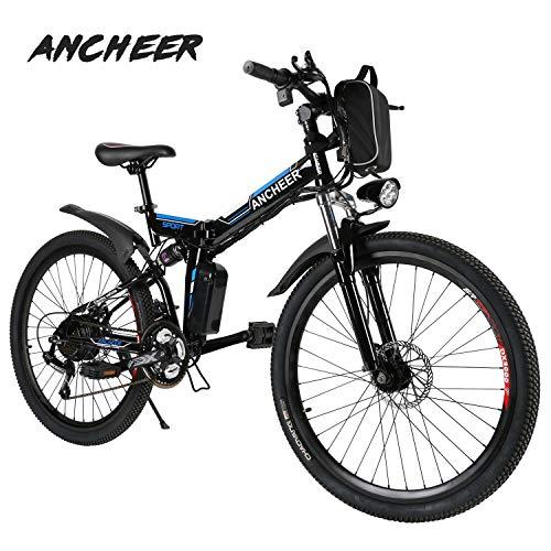 Bicicleta eléctrica Ancheer 26 'e-Velo MTB plegable 36V 250W Batería de litio de gran capacidad y cargador suspendido premium y equipo Shimano