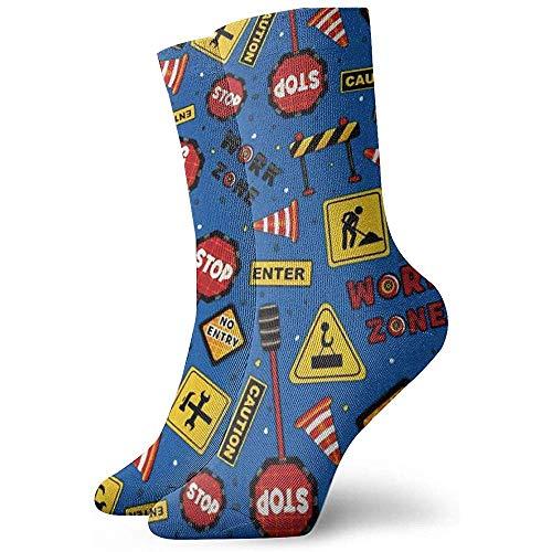 NA Lassen Sie uns Tossed Construction Signs bauen Kleid Socken lustige Socken verrückte Socken Casual Socken für Mädchen Jungen