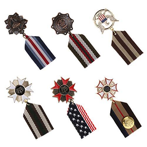 ブローチ ブローチピン メダルブローチ 勲章ピン 制服小物 宴会服 衣類の装飾 多様 6個セット