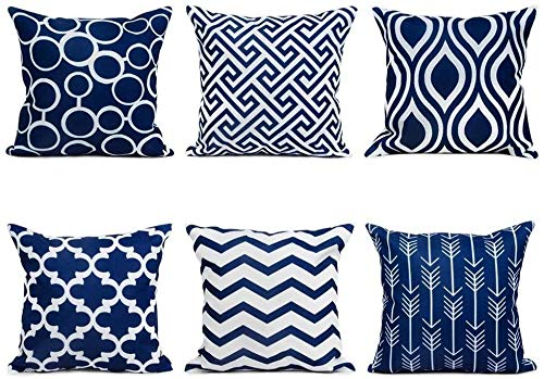 TIDWIACE Navy Blue Cushion Cover Linen Sofa Throw Pillow case for Bedroom Car with,Invisible Zipper 45x45cm/18x18 Inch, Set of 6
