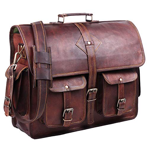 leather laptop bags Vintage Leather Laptop Bag for Men Full Grain Large Leather Messenger bag for men 18 inches with rustic look Best leather briefcase by Hulsh