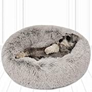 """Friends Forever Donut Cat Bed, Faux Fur Dog Beds for Medium Small Dogs - Self Warming Indoor Round Pillow Cuddler Ash Grey D30+7"""""""
