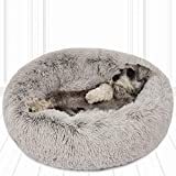 Friends Forever Donut Cat Bed, Faux Fur Dog Beds for Medium Small Dogs - Self Warming Indoor Round Pillow Cuddler Ash Grey D30+7