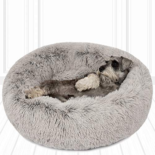 Friends Forever Donut Cat Bed, Faux Fur Dog Beds for Medium Small Dogs - Self Warming Indoor Round Pillow Cuddler Ash Grey D30+7'