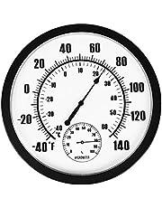 Magiin Termómetro Higrómetro Interior y Exterior para Jardín Hogar Oficina Fábrica Almacén Decoración de Pared Medidor de Temperatura y Humedad No Requiere Batería Calibración Automática