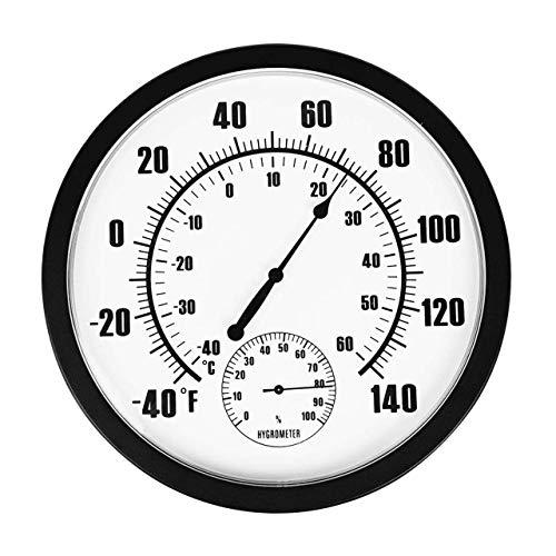 Magiin 1 pz Termometro Igrometro Interno Esterno per Patio Giardino Decorativo da Parete Senza Batteria in PVC + Resina