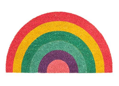 Fisura DM0698 Felpudo de Colores Arcoiris Arco Iris Multicolor Rainbow Fibra de Coco Semicircular Divertido y Original Entrada Casa Base de PVC Antideslizante, 45 x 75 cm