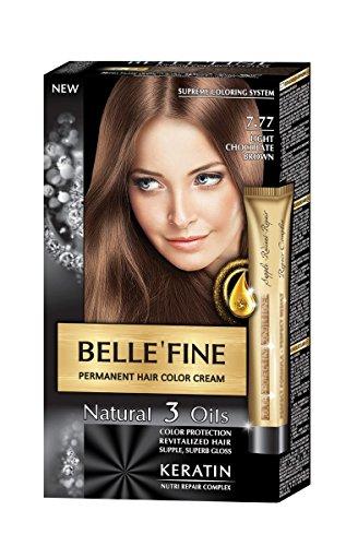 BELLE'FINE® - Coloration crème pour cheveux Black Series - luxueux - coloration naturelle/permanente - 3 huiles/kératine - MARRON CHOCOLAT CLAIR