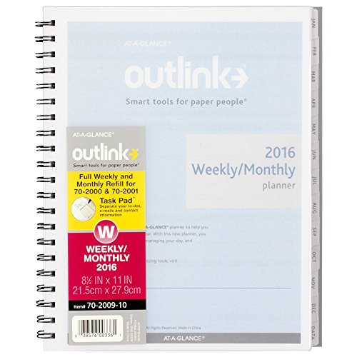 AT-A-GLANCE Weekly / Monthly Planner 2016 Refill for 70-2000, 70-2001, Outlink, 8-1/2 x 11 Inches (70-2009-10)