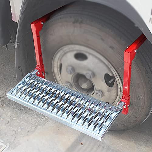 Multifunción Coche Puerta Pedal Plegable,Neumático de la Rueda Paso,Universal Coche Paso Azotea Estante,Peldaños escalera de neumáticos Adecuado para SUV, todoterreno,camión