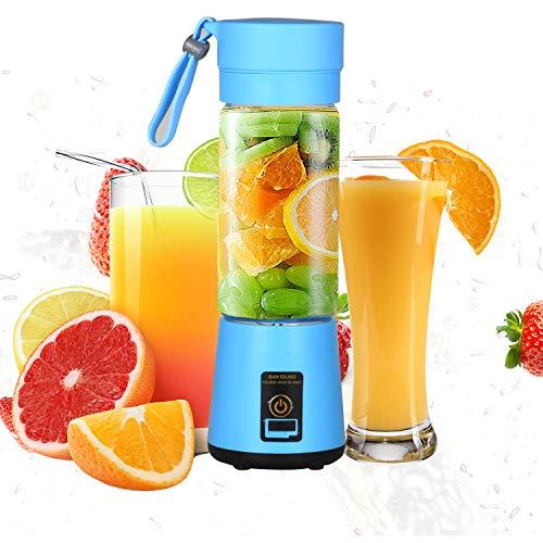 Persönlicher Mixer, Tragbar Mini Blender mit 400ml Hoch-Borosilikatglas-Tasse, wiederaufladbarer USB- Standmixer für Shake, Smoothie, Getränk von Obst und Gemüse, Blau