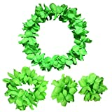 CISMARK Hawaiian Luau Flower Leis Jumbo Necklace Bracelets Headband Set Green