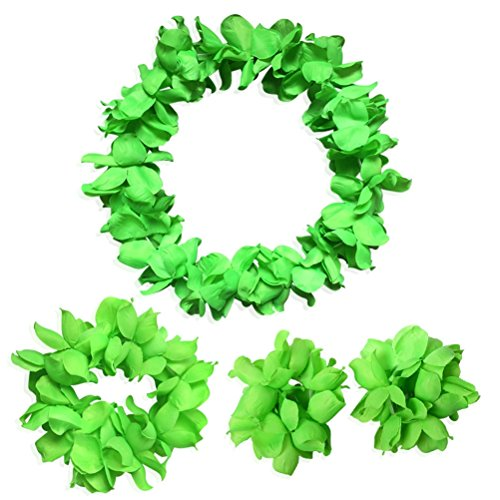 CISMARK Hawaiian Luau Flower Leis Jumbo Necklace Bracelets Headband Set Green