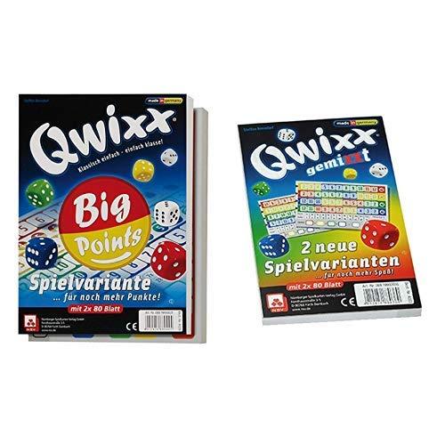 NSV - 4039 - QWIXX BIG POINTS Spielblöcke - Würfelspiel & - 4033 - QWIXX GEMIXXT- neue Spielvarianten, 2-er Set Blöcke, Würfelspiel