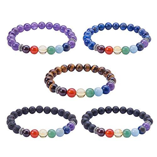 SUNNYCLUE Stile Tibetano Pietra preziosa Naturale Perline Stretch bracciali Argento Perline e Sacchetti in Velluto