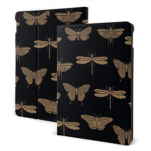 JIUCHUAN Protective Case Ipad 2019 Ipad Air3/2017 Ipad Pro 10.5 Inch Case/2019 Ipad 7th 10.2 Inch Case Seamless Embroidered Insects Golden Butterflies Universal Ipad Case Auto Wake/sleep