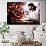 Refosian Jesus Christus VS Satan Leinwand Malerei Teufel VS