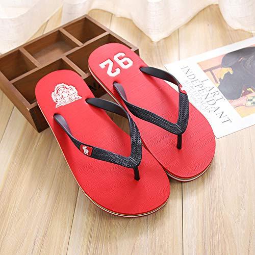Fawn flip-flops chanclas masculinas al aire libre ocio marea zapatillas antideslizantes sandalias y zapatillas-rojo_44