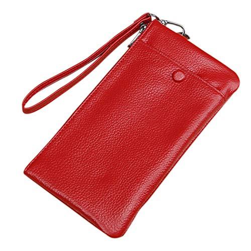 COSYOO Unisex Pulsera Teléfono Monedero Moda Portátil con Cremallera Billetera de Color Sólido de Mano de Cuero Genuino Titular de La Tarjeta Billetera Billetera para Unisex