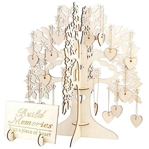 Okdeals Gästebuch für Hochzeit, 20 Seiten dickes Kraftpapier und Holzeinband mit kleinem Fotorahmen, Fotoalbum/Gästebuch, 28 x 20 x 1,6 cm, 3D-Gästebuchbaum, 34x34x37cm