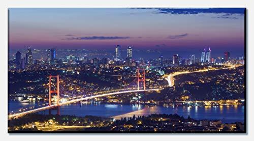wandmotiv24 Leinwandbild Istanbul bei Nacht 100x50cm (BxH) Panoramabild Foto-Leinwand Wandbild Foto-Geschenke M0374