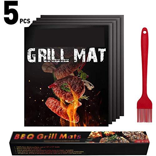 Mijiang Best Grill Mat,Grill Mat, Set of 5 BBQ Grill Mat Nonstick Reusable Barbecue Baking Mat Teflon Cooking Mats,Outdoor Grills, Gas, Ovens & Baking