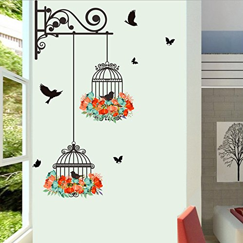 Amovible Stickers Muraux Mur eTiquette Mur Mural Maison Decor Chambre Decor Wallpaper Cage à oiseaux Wall Stickers Decal Home Decoration Removable Mural DIY Decor Autocollant de Réfrigérateur WINJIN