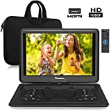 """19"""" Portable DVD Player with 16"""" Large Screen,HDMI Input, 6 Hours Rechargeable Battery,1080P"""