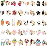 CASSIECA 20 pares Pendientes de Clip Orejas para Mujeres Niñas No Piercing Pendientes Sin Perforación Lollipop Múltiples animales Patrón lindo Pendientes hipoalergénicos Set