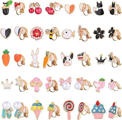 CASSIECA 20 Paare Clip Ohrringe Set für Mädchen Prinzessin Kinder Frauen Ohrclips Ohne Ohrloch Schmuck Blume ohrringen clip Lutscher Eis Mehrere Tiere Niedliches Muster