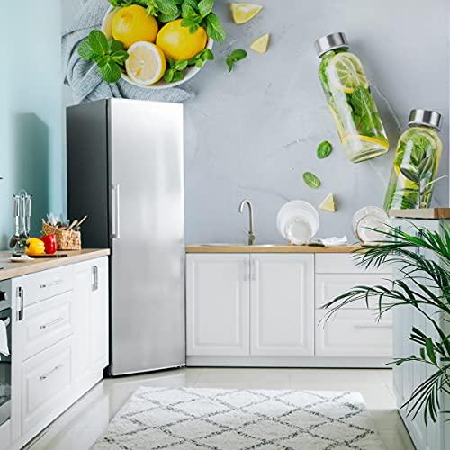 Muralo Papel pintado fotográfico de fieltro fabuloso 135 x 90 cm, para comedor, limones, frutas, mármol, moderno papel pintado para cocina, restaurante, mural XXL de lujo, abstracto, 135 x 90 cm