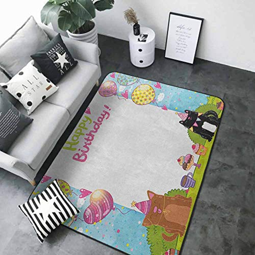 """Soft Area Children Baby Playmats Kids Birthday,Party Black and Brown Cats Cakes Balloons Heart Traditional Polka Dots Art, Multicolor 48""""x 72"""" Best Floor mats"""