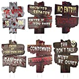 Halloween Decorations Yard Signs Stakes, 6 Pack Beware Signs Yard Warning Signs, 6 Pack Outdoor Lawn Signs, 15' x 11' Yard Decor for Haunted House, Creepy Sidewalk Warning Signs Scary Theme Party
